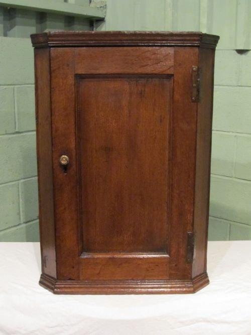 antique georgian country oak small corner cupboard c1780 w6717263