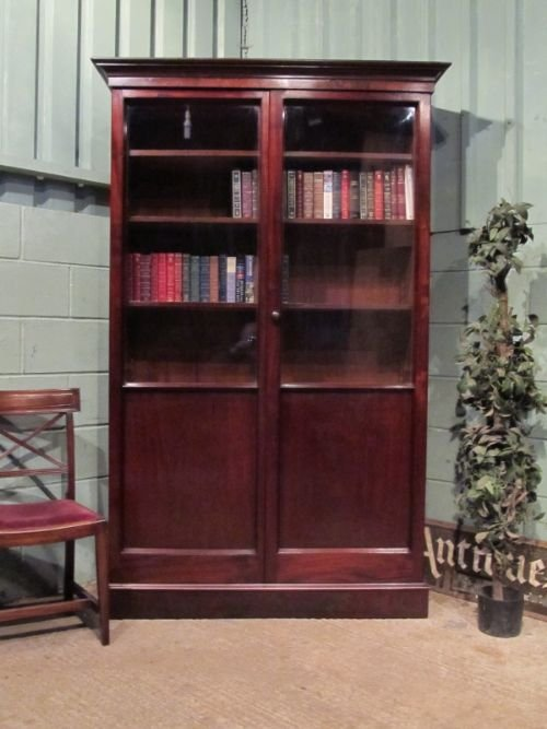 antique victorian mahogany library bookcase c1880 w689024
