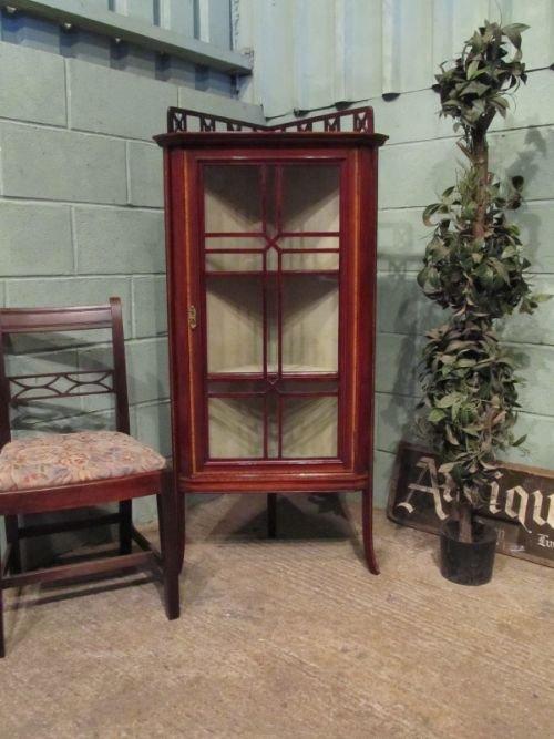 antique edwardian glazed mahogany corner display cabinet c1900 w6915164