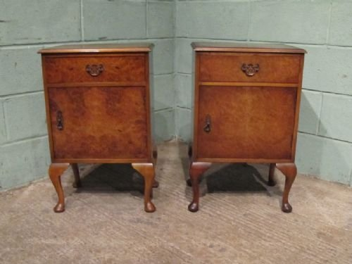 antique pair burr walnut bedside cabinets c1920 w6905164