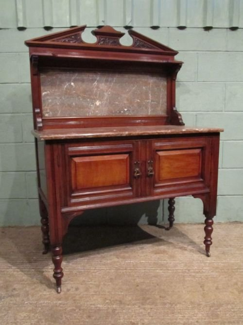 antique victorian art nouveau mahogany marble washstand c1890 w692775