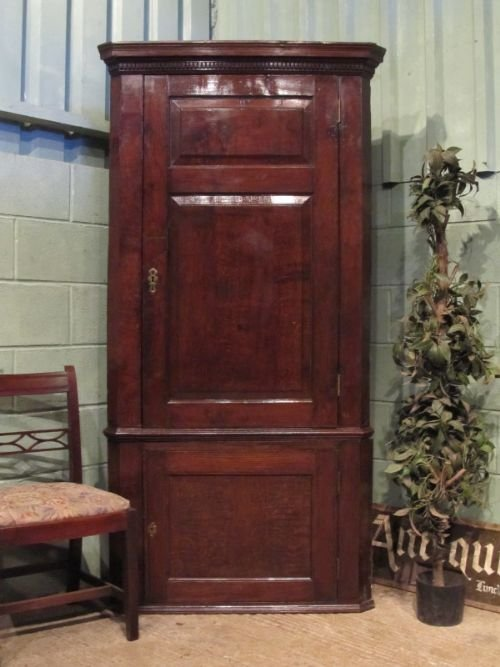 antique georgian oak full height corner cabinet cupboard c1780 w6943145