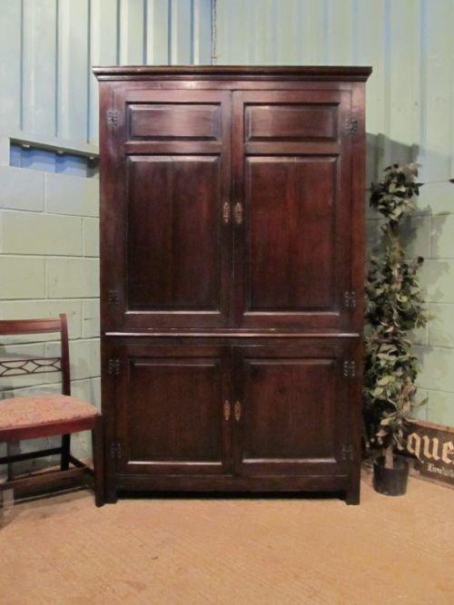 antique early georgian country oak press cupboard c1760 w6934145