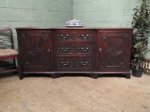 antique georgian carved oak dresser base sideboard c1780 w6994186