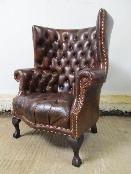 Antique Full Button Down Brown Leather Chesterfield Wing