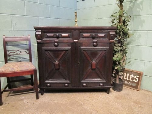antique 17th century oak food cupboard sideboard c1680 w6982256