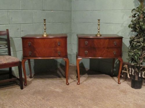 antique pair mahogany bow front bedside chests c1920 w7053138