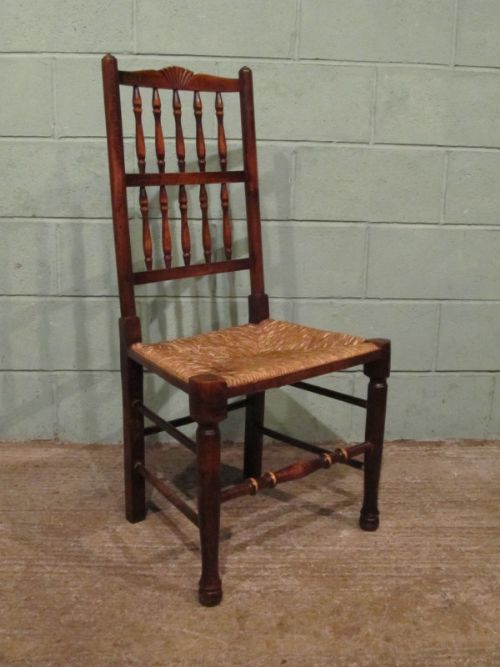 Antique Set Six Country Oak Spindle Back Dining Chairs C1880 W7041 13 8 177