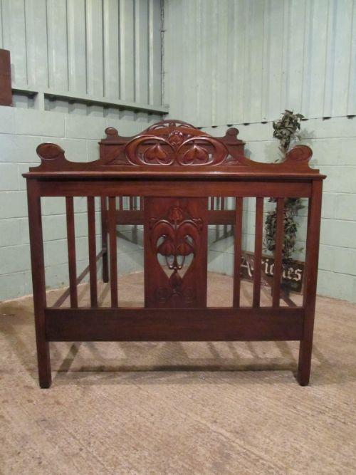antique mahogany art nouveau tulip design double bed c1890 w7027138