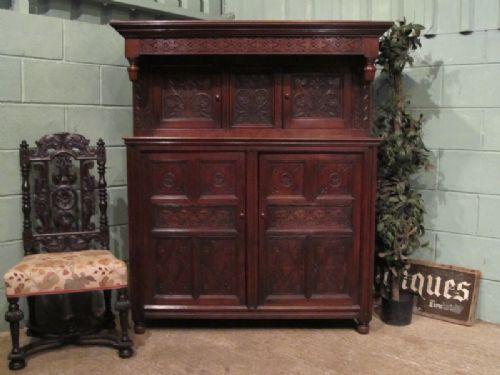 antique early victorian joined oak court cupboard c1840 w4667214