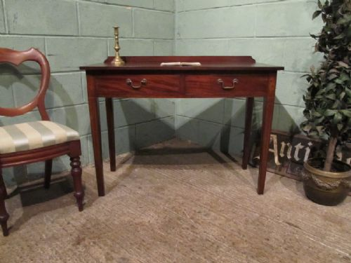 antique victorian mahogany bow front inlaid writing table c1890