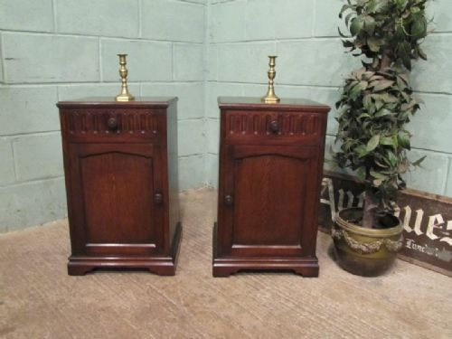 antique pair oak linen fold bedside cabinets c1920 w7086110