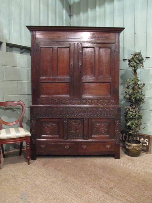 Thumbnail picture of: ANTIQUE LATE 18TH CENTURY COUNTRY OAK TACK CUPBOARD WARDROBE C1780 W7128/15.10