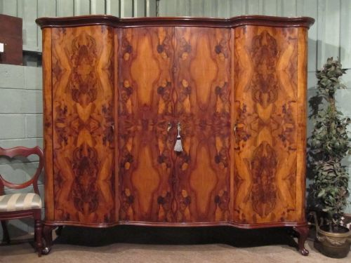antique stunning italian burr walnut serpentine triple wardrobe armoire