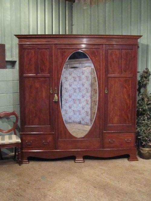 antique edwardian inlaid mahogany triple wardrobe c1900