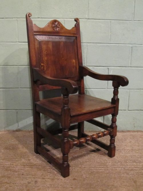 antique 19th century joined oak armchair