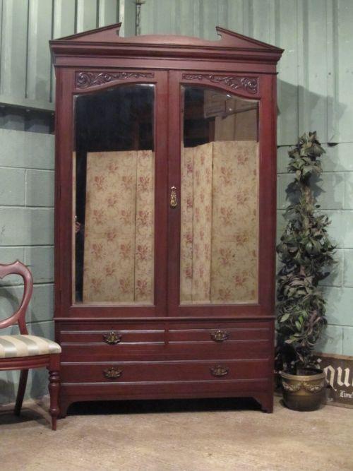Antique Art Nouveau Mirror Fronted Mahogany Double Wardrobe ...
