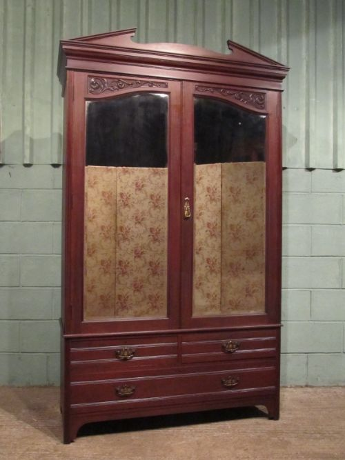 antique art nouveau mirror fronted mahogany double wardrobe armoire c1890 200650. Black Bedroom Furniture Sets. Home Design Ideas