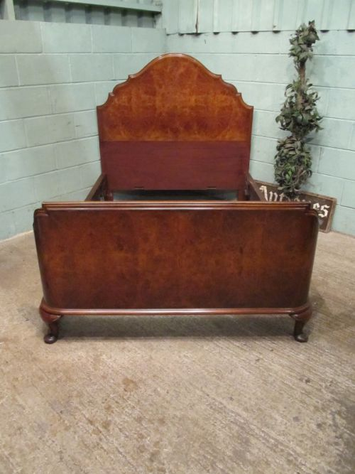 Antique edwardian burr walnut double bed in queen anne for Queen anne style bed