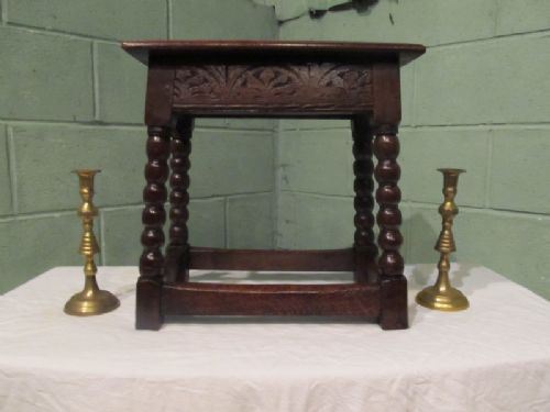 antique 18th century country oak joint stool c1750