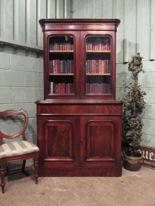 antique victorian mahogany library bookcase c1880 w729152