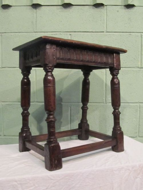 antique early georgian country oak joint stool c1750