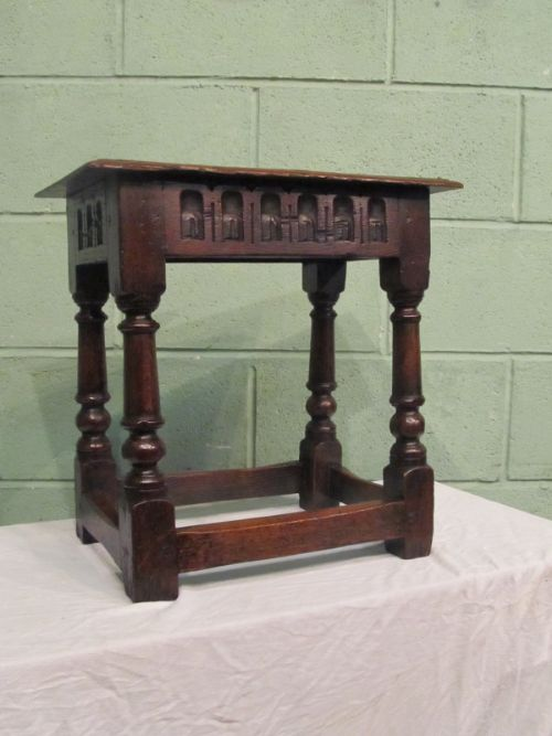 antique early victorian country oak joint stool c1850