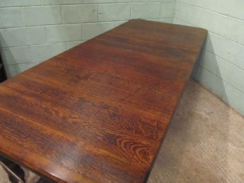 antique late 19th century oak windout out extending dining table seats 1012 c1890