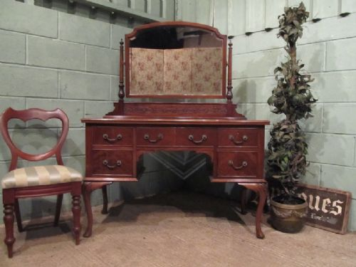 antique edwardian mahogany chippendale dressing table c1900