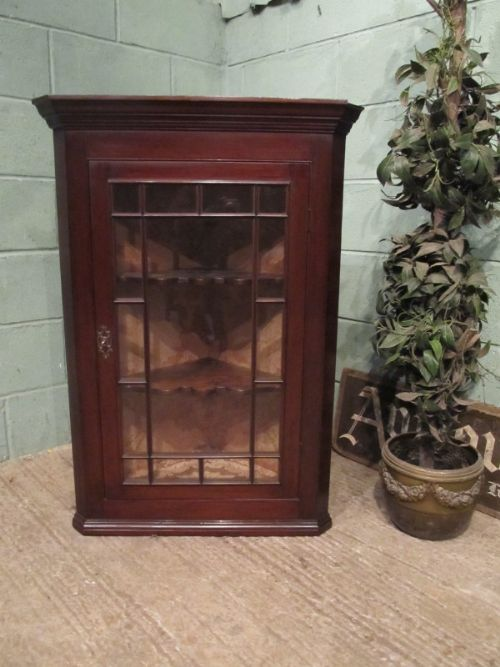 antique regency mahogany glazed corner cabinet c1820
