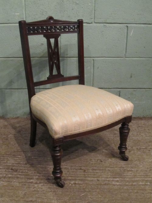 Antique Pair Edwardian Mahogany Bedroom Nursing Chairs C1900