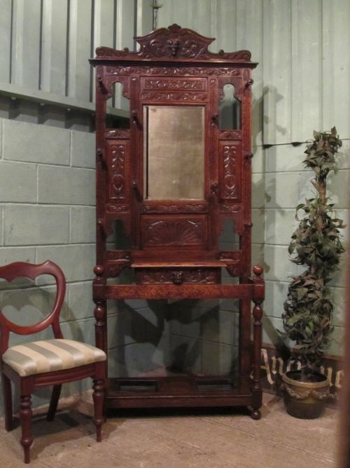 antique victorian carved gothic oak green man hallstand c1880