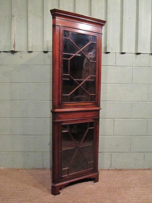 Antique Edwardian Mahogany Tall Narrow Astragal Glazed