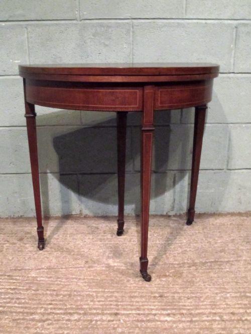 Antique edwardian sheraton mahogany demi lune fold over for Table demi lune fer forge