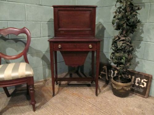 antique edwardian mahogany inlaid ladies dual writing bureau work table c1900