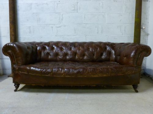 original antique victorian chesnut brown leather chesterfield button back 3 seater sofa c1865. Black Bedroom Furniture Sets. Home Design Ideas