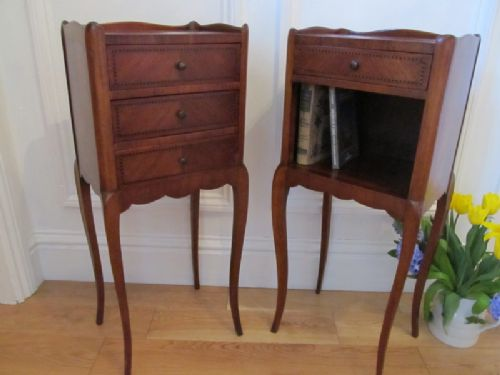antique pair french parisian mahogany parquetry chests by hugnet c1920