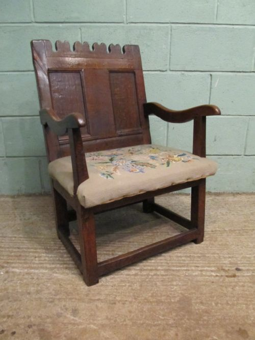 antique early 18th century small joined oak armchair c1720