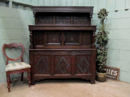 antique 18th century carved oak tridarn court cupboard c1780