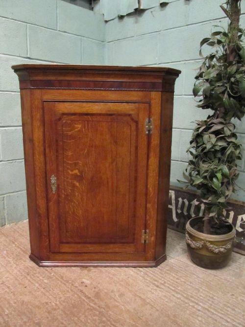 antique 18th century georgian oak mahogany wall corner cabinet c1780
