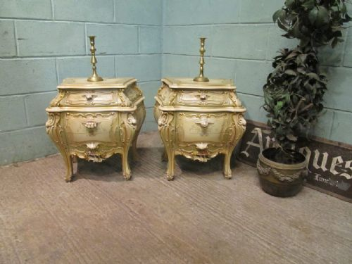 pair italian painted bombe bedside chests