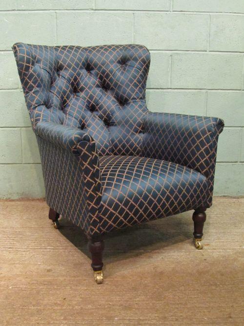 antique maples co deep button back salon tub chair c1900 238523
