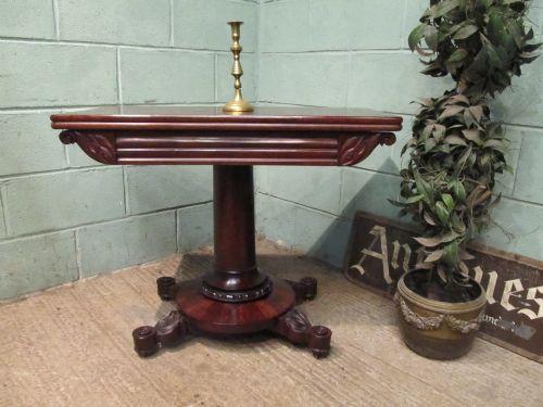 antique william 1v plum pudding mahogany fold over tea table c1830