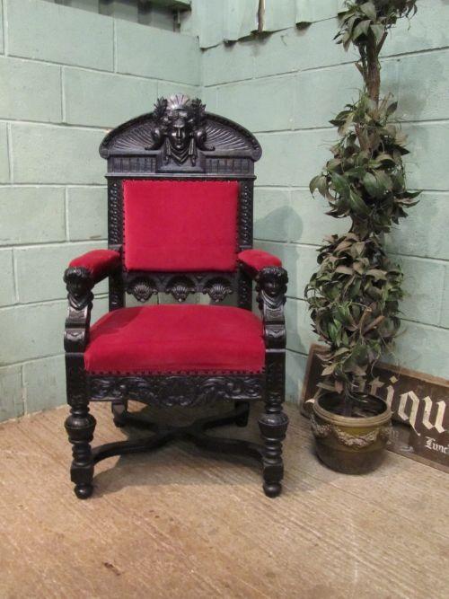 antique italian 19th century carved oak throne chair of neo classical  design c1860 - Antique Italian 19th Century Carved Oak Throne Chair Of Neo