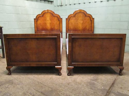 Antique pair of edwardian burr walnut single beds in queen for Queen anne style bed