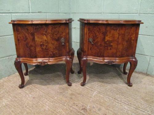 antique pair italian burr walnut serpentine shaped bedside cabinets c1900