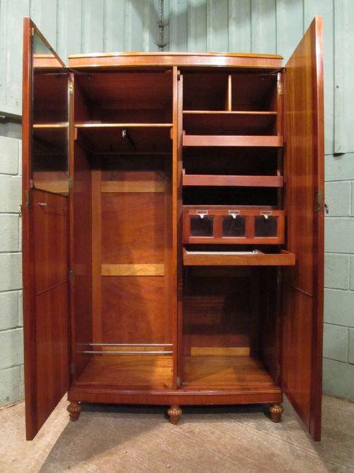 Antique edwardian satinwood gentlemans wardrobe compactum by maples co