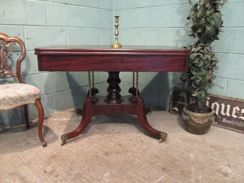 antique irish regency mahogany fold over dining table seats 6 c1820