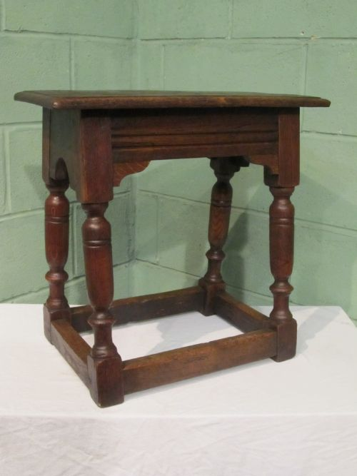 antique early victorian country oak joint stool c1840