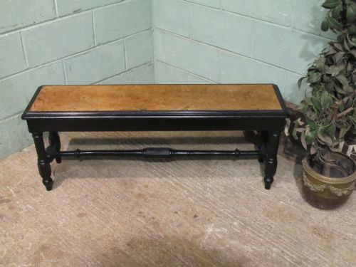 antique aesthetic pollard oak ebonised bench seat c1890